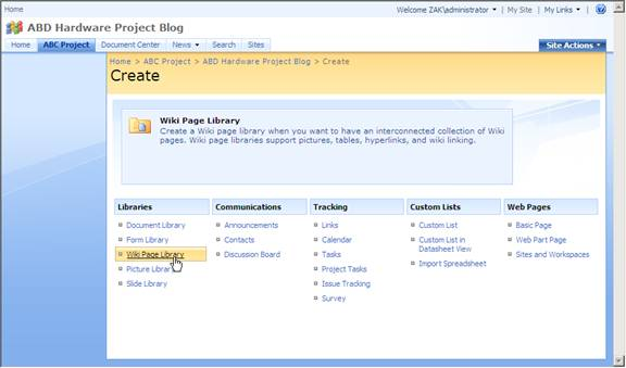 Enter The Title And Description For Wiki Web Site Address To Be Used