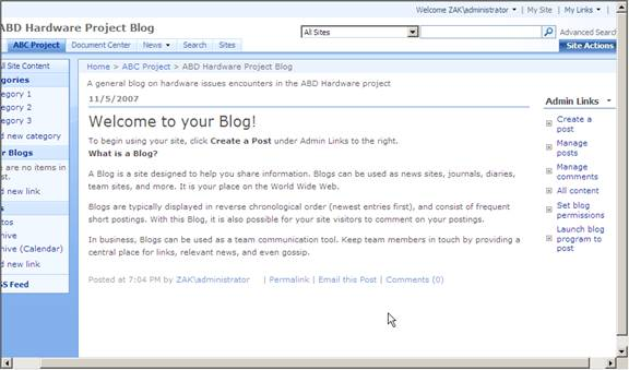 SharePoint Blog & Wiki Web Parts
