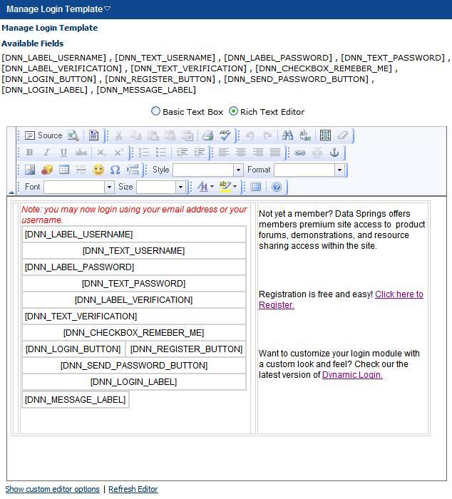 login page in asp net template - dynamic login dotnetnuke login module